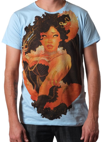 The Lady Smokes Tee in blue by Sure Original
