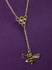 Bee With Honeycomb Necklace, bee necklace, beez in the trap necklace, beez in the trap
