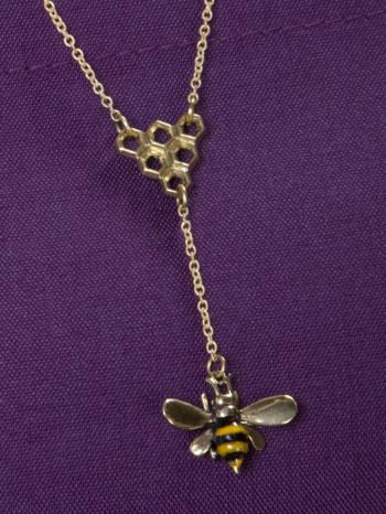 Bee With Honeycomb Necklace, bee necklace, beez in the trap necklace, beez in the trap
