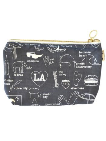 LA Zip Pouch by Maptotes, Los Angeles bag, LA Zip bag, LA makeup bag