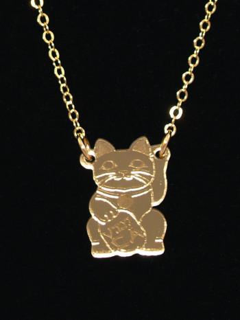 Maneki Neko Cat Necklace by Vinca Jewelry