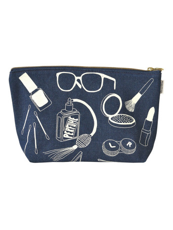 Denim Makeup Pouch by Map Tote