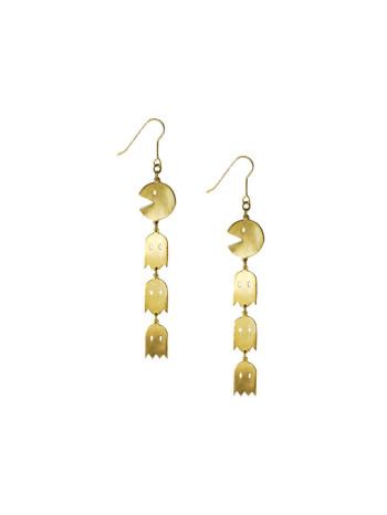 Pac Man Earrings by Monserat de Lucca, pac man earrings, pac man and ghosts earrings, pac man ghost earrings,