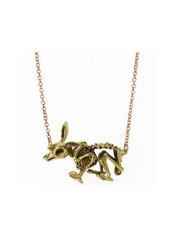 Rabbit Skeleton Necklace by Monserat de Lucca, rabbit necklace, bunny necklace, bunny bones necklace, bunny skeleton necklace
