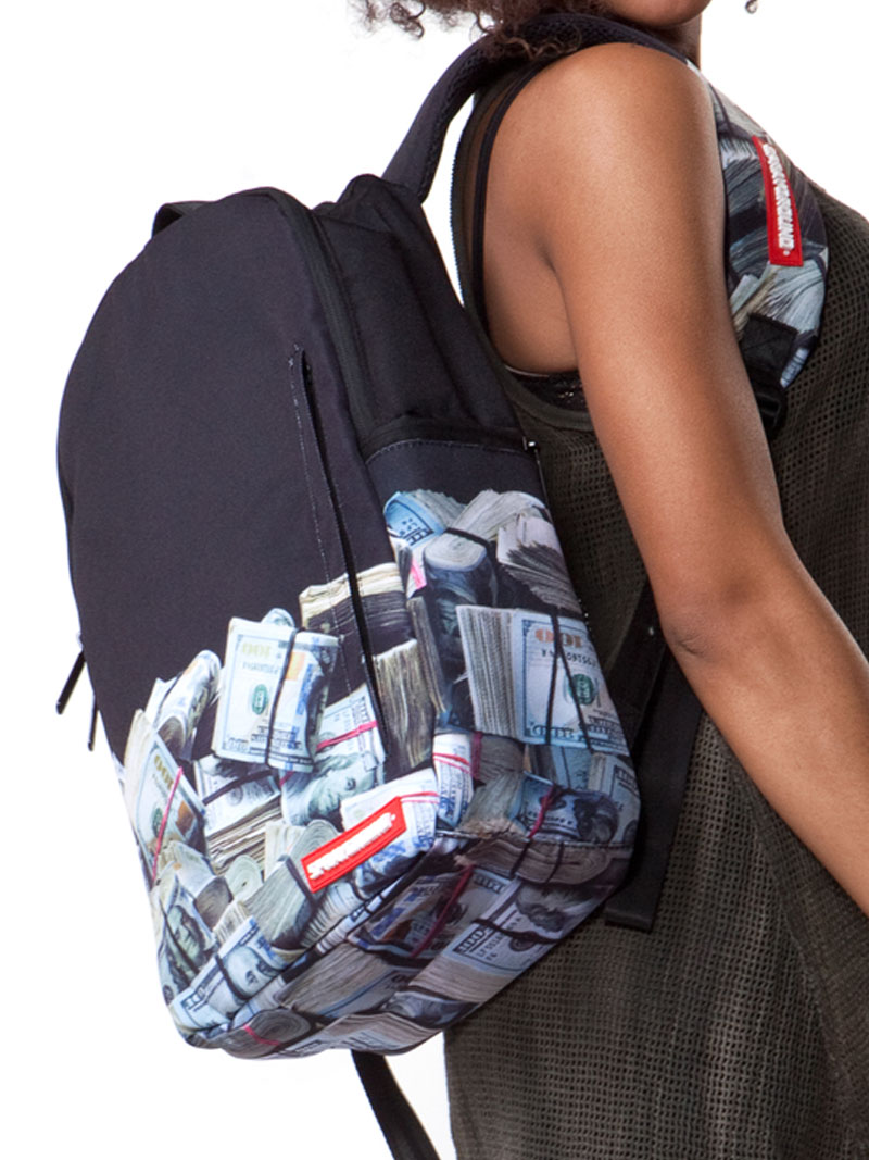 money rolled backpack